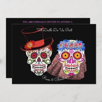 bride & groom sugar skulls til death do us party invitation
