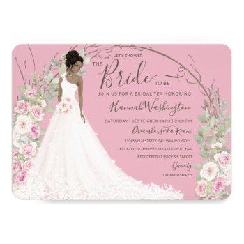 bride in white dress bridal tea shower invitation