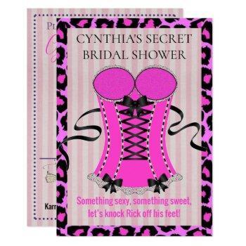 bride love pink lingerie bridal shower party invitation