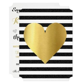 bride summer loving black & gold soiree lawn party invitation