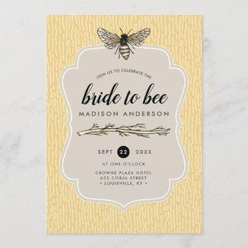 bride to bee rustic elegant vintage bridal shower invitation