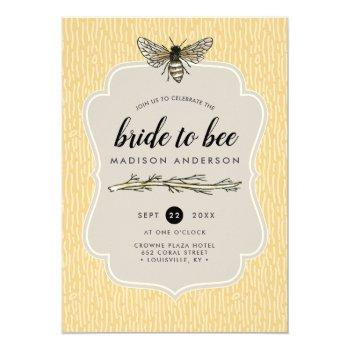 bride to bee rustic elegant vintage bridal shower invitation