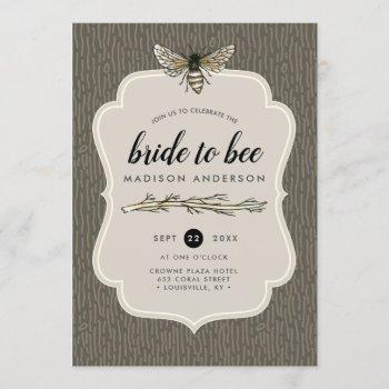 bride to bee rustic umber vintage bridal shower invitation