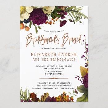 bridesmaids brunch autumn modern bridal shower invitation