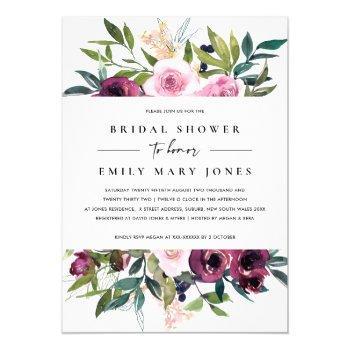 bright blush burgundy floral bunch bridal shower invitation