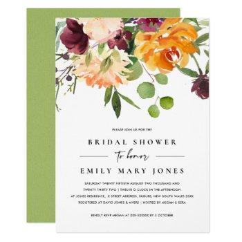 bright blush yellow orange floral bridal shower invitation