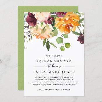 bright blush yellow orange floral bridal shower invitation