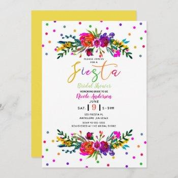 bright modern floral white fiesta bridal shower invitation