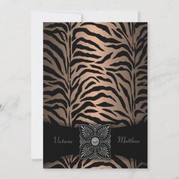 brown and black zebra wedding invitations