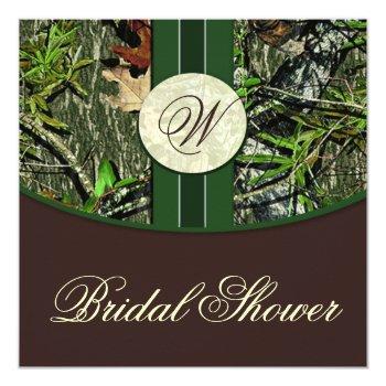 brown green camo wedding bridal shower invitations