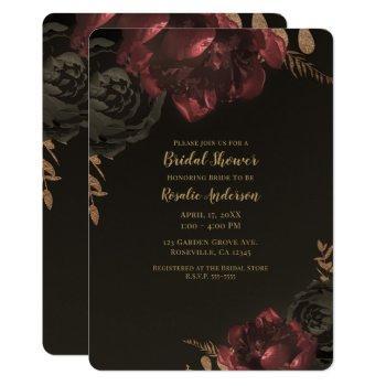 brown moody dark floral gold greenery bridal invitation