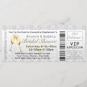 brunch and bubbly bridal shower admission ticket invitation