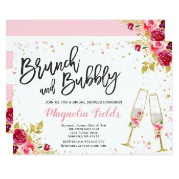 brunch and bubbly bridal shower invitation floral
