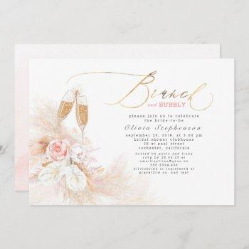 brunch and bubbly bridal shower pampas grass  invitation