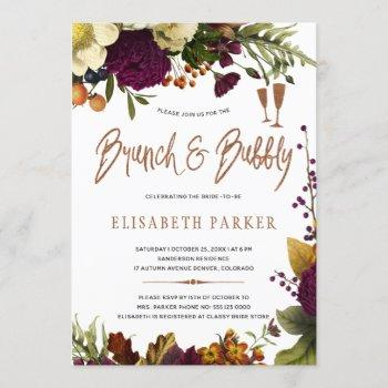 brunch and bubbly fall floral gold bridal shower invitation