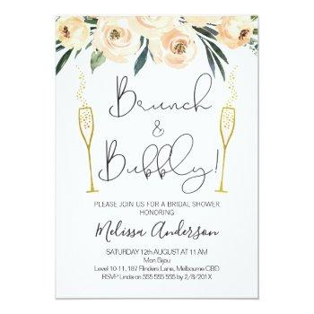Brunch And Bubbly Floral Bridal Shower Invitation Front View