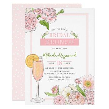 brunch and bubbly | pink floral bridal brunch invitation
