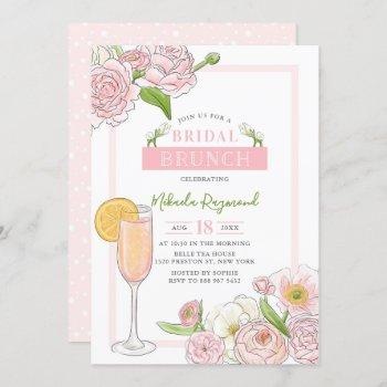 brunch and bubbly | pink floral bridal brunch invitation