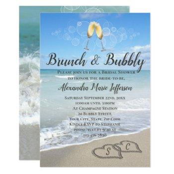brunch and bubbly sand hearts beach bridal shower invitation
