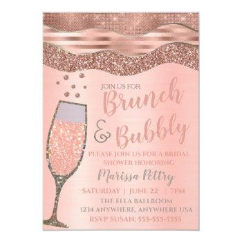 brunch and bubbly shower blush rose gold invitation