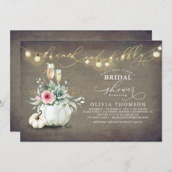 brunch and bubbly succulents pumpkin bridal shower invitation