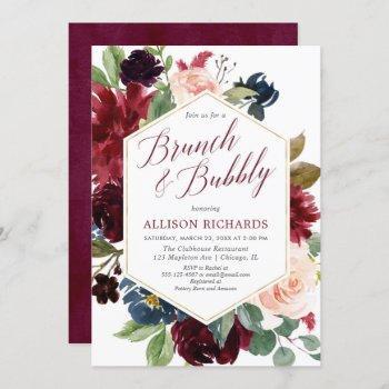 brunch bubbly blush burgundy navy floral bridal invitation