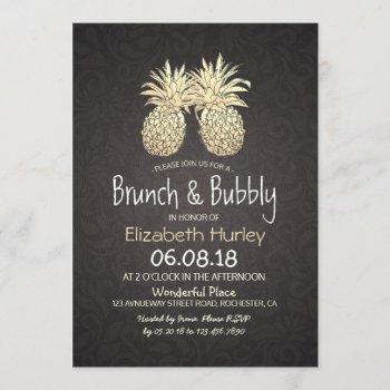 brunch & bubbly bridal shower black gold pineapple invitation