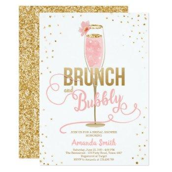 brunch & bubbly bridal shower blush gold champagne invitation