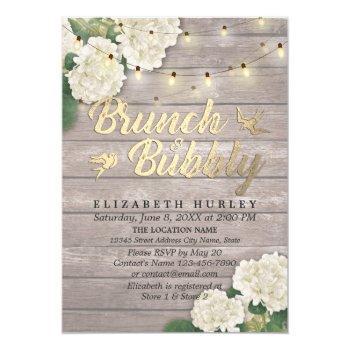 brunch & bubbly bridal shower floral string lights invitation