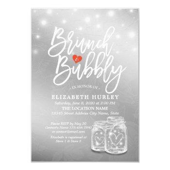 brunch bubbly bridal shower mason jar string light invitation