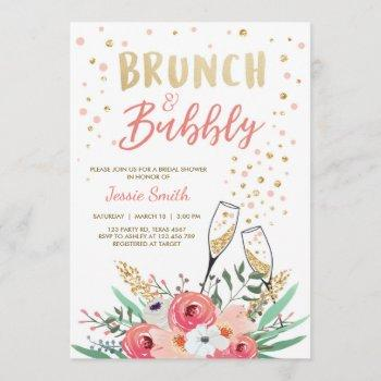 brunch & bubbly bridal shower pink gold champagne invitation