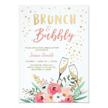brunch & bubbly bridal shower pink gold champagne invitation