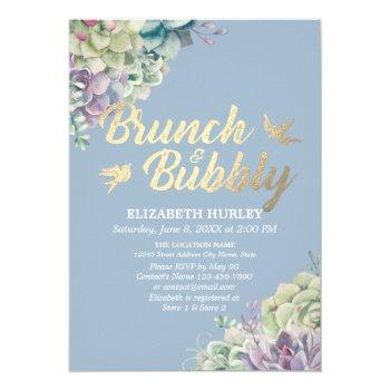 brunch & bubbly bridal shower watercolor succulent invitation