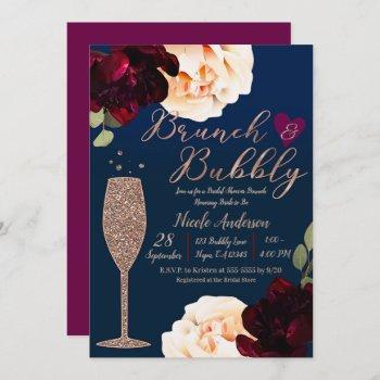 brunch & bubbly champagne dark blue bridal shower invitation