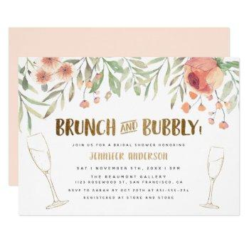 brunch & bubbly champagne & gold bridal shower invitation