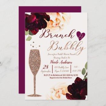 brunch & bubbly champagne rose gold bridal shower invitation