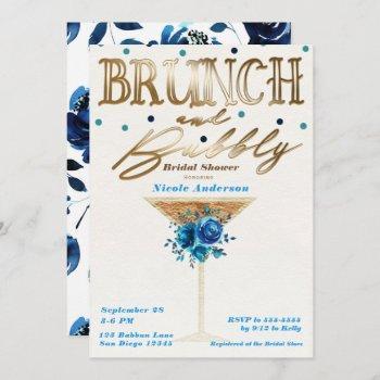 brunch bubbly gold teal blue floral bridal shower invitation
