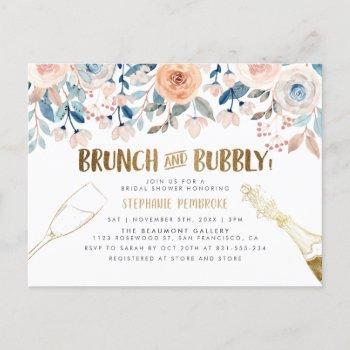 brunch & bubbly | gold & watercolor bridal shower invitation postcard
