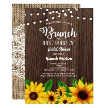 brunch & bubbly invitation sunflower rustic
