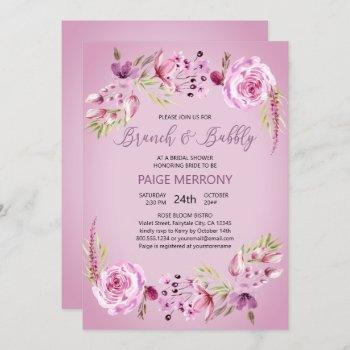 brunch & bubbly purple floral bridal shower invitation