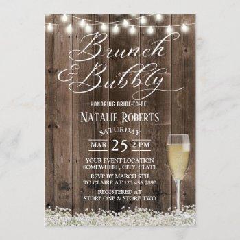 brunch & bubbly rustic baby's breath bridal shower invitation