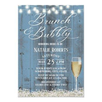 brunch & bubbly rustic dusty blue bridal shower invitation