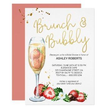 brunch bubbly strawberries champagne bridal shower invitation