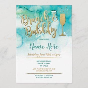 brunch & bubbly teal gold bridal shower invite