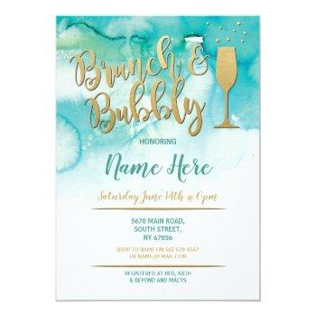 brunch & bubbly teal gold bridal shower invite