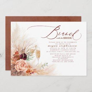 brunch with the bride bridal shower pampas grass invitation