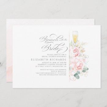 brunch with the bride pink floral bridal shower invitation