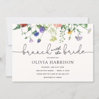 brunch with the bride wildflower shower invitation