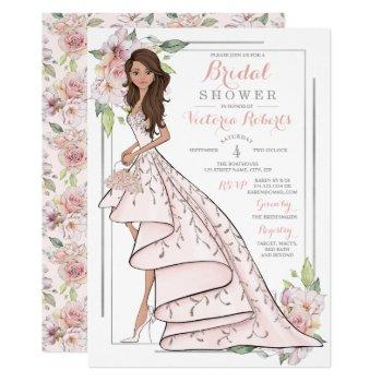 brunette bride floral bridal shower invitation
