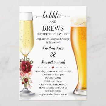 bubbles and brews before i do couples shower invitation